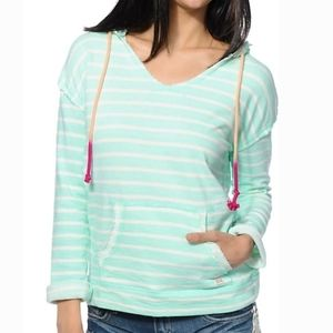 BILLABONG Cozy Mint Green Striped Pullover Hoodie